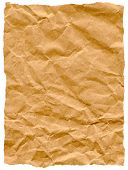 Old torn crumpled paper bag texture isolated on white.