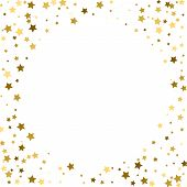 Abstract Vector Round Background With Gold Star Elements. Glitte poster