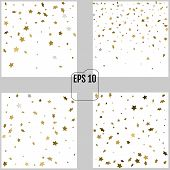 Set Of Vector Abstract Patterns Of Random Falling Gold Stars On poster