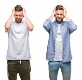 Collage of young man wearing casual look over white isolated backgroud suffering from headache despe poster