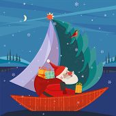 Cute Santa Claus Sailing In Festive Sailboat With Christmas Tree, Gifts Present. Fun Boat On Lake In poster