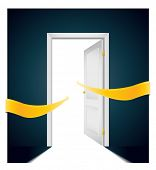 pic of open door  - open door with bright arrows pointing direction to the light - JPG