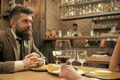 Date Or Business Meeting Of Hipster In Pub. Confident Bar Customer Speak In Cafe. Businessman With L poster
