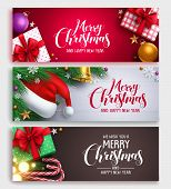 Christmas Vector Banner Design Set With Colorful Backgrounds, Christmas Elements And Christmas Greet poster