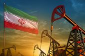 Iran Oil Industry Concept, Industrial Illustration. Fluttering Iran Flag And Oil Wells On The Blue A poster