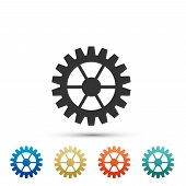 Gear Icon Isolated On White Background. Cogwheel Sign. Set Elements In Colored Icons. Flat Design. V poster