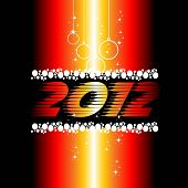 2012 New Year celebration background for cover, Flayer or poster with shiny colors, hanging balls &