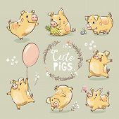 Set Of Cute Tiny Yellow Pig In Different Poses. Dancing Piggy, Pig With The Balloon. New Year Symbol poster