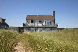 stock photo of cape-cod  - Classic Cape Cod beach house - JPG