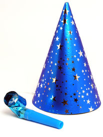 foto of birthday hat  - blue party hat and noisemaker - JPG