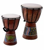 image of bongo  - two bongo drums from fuerterventura isolated on white - JPG