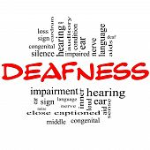 foto of inner ear  - Deafness Word Cloud Concept in red and black letters with great terms such as nerve deaf hearing ear aid silence and more - JPG