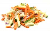 picture of crudites  - Assorted vegetables cut surrounded by white background - JPG