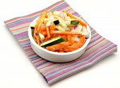 stock photo of crudites  - Assorted vegetables cut served in a bowl on a napkin  - JPG