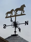picture of shire horse  - an ornamental weather vane in the form of a shire horse and foal - JPG