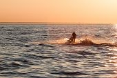 picture of ski boat  - Young guy cruising in the baltic sea on a jet ski during sunset - JPG