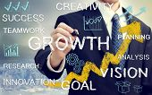 foto of cartoons  - Business man with concepts of growth innovation vision success and creativity with rising arrows - JPG