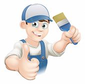 picture of dungarees  - Illustration of a cartoon painter or decorator holding a paintbrush and giving a thumbs up - JPG