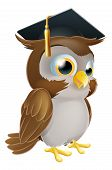 stock photo of wise  - Illustration of a cute cartoon wise owl wearing a mortarboard convocation or graduation hat - JPG