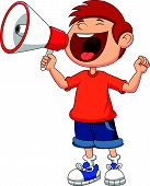 stock photo of yell  - Vector illustration of Cartoon boy yelling and shouting into a megaphone - JPG
