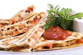 picture of tomato sandwich  - Quesadillas with Cajun Chicken Cheese Tomato Salsa and corn salad - JPG
