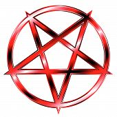stock photo of baphomet  - glaring red pentagram  - JPG