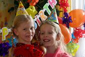 stock photo of birthday party  - two girls at the birthday party - JPG