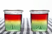 stock photo of jello  - Traffic light jello made of three layers jello - JPG