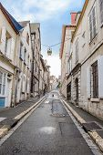 picture of ascending  - empty ascending Street in old european town - JPG