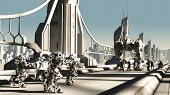 stock photo of skyway bridge  - Futuristic science fiction battle droids and space marines fighting for control of a skyway bridge - JPG