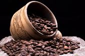picture of hot coffee  - Closeup of coffee beans - JPG