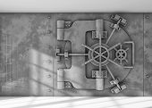 picture of combination lock  - Metal vault locked on a room with light coming from a window - JPG