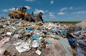 stock photo of waste disposal  - waste on a big large disposal site