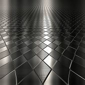 picture of long distance  - Dark metal silver checked pattern background with perspective - JPG