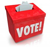 The word Vote on a red ballot box for collecting votes and ballots in a democratic election to choos