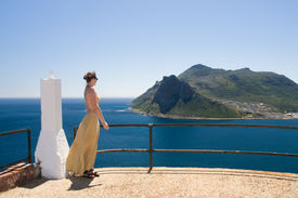 picture of zar  - Young woman is watching the other side of the Cape Town from Chapman - JPG