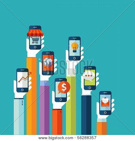 Flat design vector illustration concept for mobile apps poster