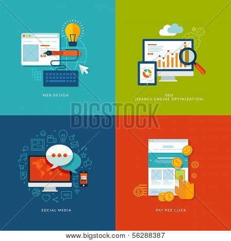 Set of flat design concept icons for web and mobile services and apps. poster