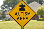 pic of autism  - A sign warning drivers of an Autism area - JPG
