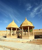 image of jain  - old jain cenotaph in jaisalmer rajasthan india - JPG