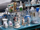 stock photo of thrift store  - Decorative Knick Knack at a flea market stand - JPG