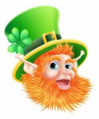 picture of leprechaun  - An illustration of a happy St Patricks Day Leprechaun Face - JPG