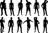 stock photo of muscle man  - Set of 12 sexy men silhouettes on white background - JPG