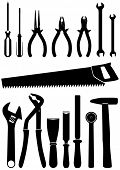 Vector illustration set of 15 different hand tools. All objects and details are isolated and grouped
