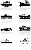 Vector set of different boat illustrations or symbols. All vector objects are isolated. Colors and t