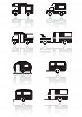 Caravan or camper van symbol vector illustration set. All vector objects are isolated and grouped. C
