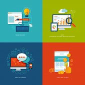Set of flat design concept icons for web and mobile services and apps.