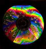Closeup of water drops on a multicolored surface of CD
