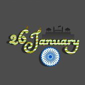 stock photo of ashoka  - Happy Indian Republic Day concept with stylish text and silhouette of Red Fort - JPG