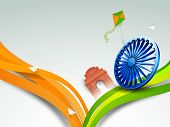 picture of ashoka  - Happy Indian Republic Day concept with stylish Ashoka Wheel - JPG